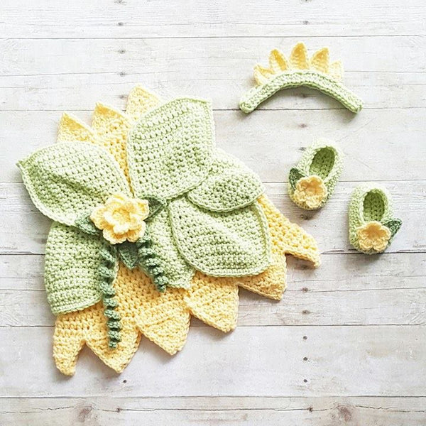 Crochet Baby Princess Tiana Inspired Dress Bow Headband Shoes Set Costume Dress Up Handmade Disney Inspired Baby Shower Gift Photography Photo Prop Princess And The Frog - Red Lollipop Boutique