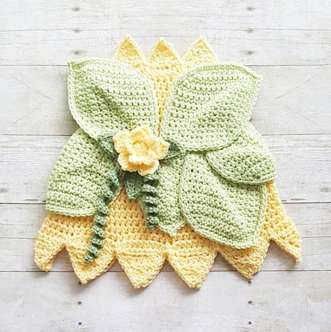 Crochet Baby Princess Tiana Inspired Dress Costume Dress Up Handmade Disney Inspired Baby Shower Gift Photography Photo Prop Princess And The Frog - Red Lollipop Boutique
