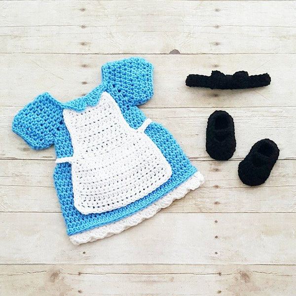 Crochet Baby Alice In Wonderland Inspired Dress Bow Headband Shoes Set Costume Dress Up Handmade Disney Inspired Baby Shower Gift Photography Photo Prop - Red Lollipop Boutique