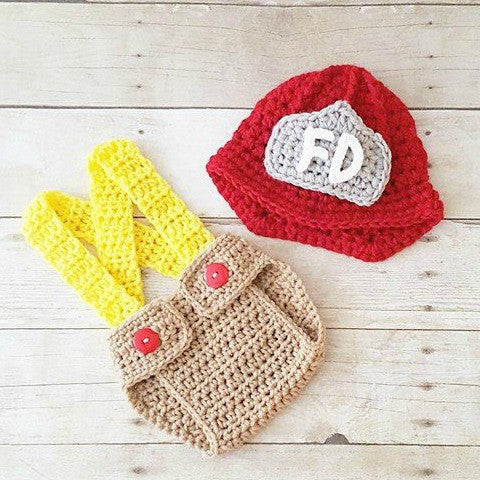 Crochet Baby Fireman Firefighter Set Hat Helmet Beanie Diaper Cover Overalls Infant Baby Newborn Photography Photo Prop Shower Gift Present