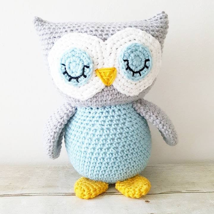 Crochet Owl Stuffed Animal Toy Newborn Baby Infant Toddler Nursery Decor Handmade Baby Shower Gift - Red Lollipop Boutique
