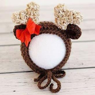 Crochet Baby Reindeer Bonnet Beanie Hat Christmas Newborn Infant Photography Photo Prop Handmade Baby Shower Gift - Red Lollipop Boutique