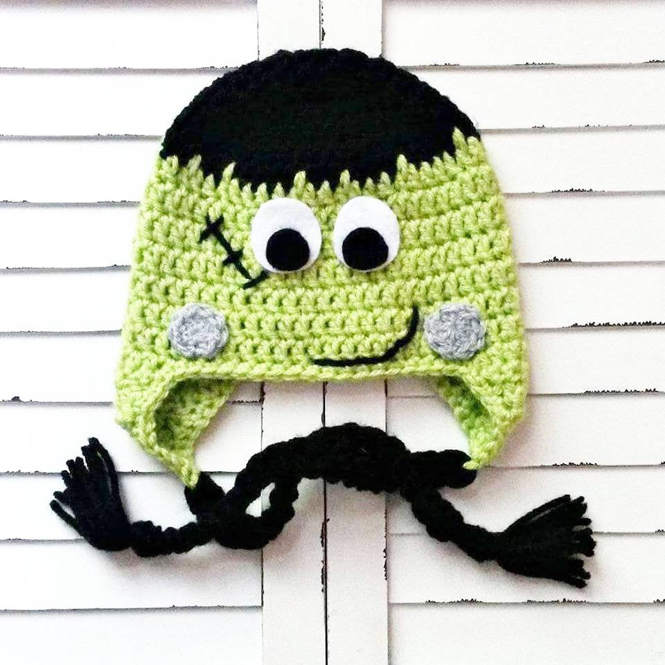 Crochet Frankenstein Beanie Hat Halloween Costume Newborn Baby Infant Toddler Child Handmade - Red Lollipop Boutique
