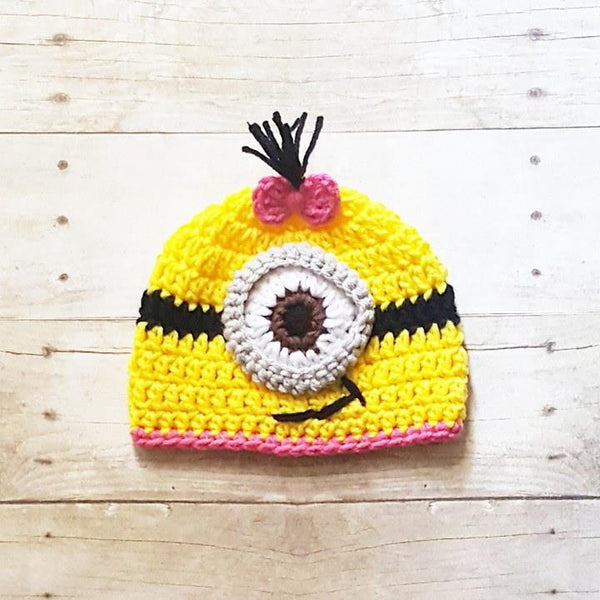 Crochet Baby Minion Hat Beanie Diaper Cover Overalls Set Handmade Newborn Infant Photography Photo Prop Baby Shower Gift - Red Lollipop Boutique