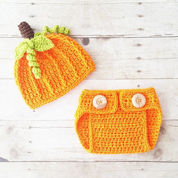 020335bfd7c Crochet Baby Pumpkin Beanie Hat Diaper Cover Set Halloween Fall  Thanksgiving Newborn Infant Baby Photography Photo