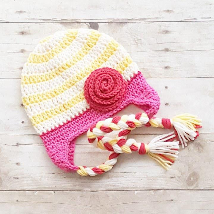 8d3ccf9e948 Crochet Striped Rosette Flower Beanie Hat Braided Braids Newborn Infant Baby  Toddler Child Handmade Baby Shower