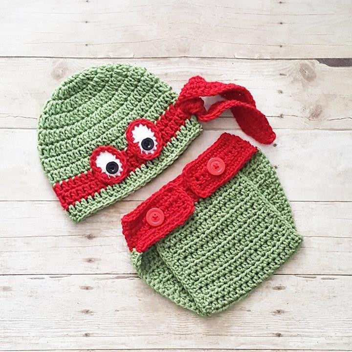 Crochet Baby Ninja Turtle Hat Beanie Diaper Cover Set Newborn Infant Handmade Photography Photo Prop Baby Shower Gift - Red Lollipop Boutique