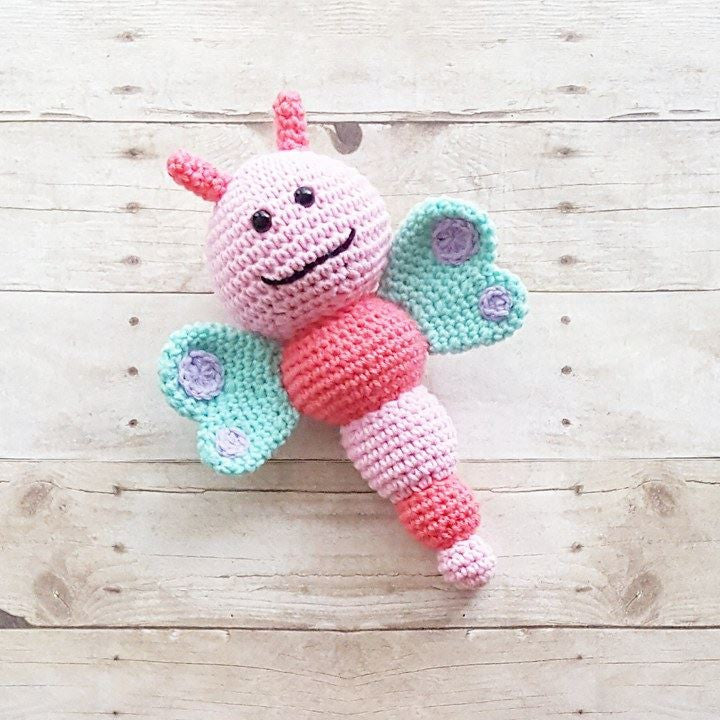 Crochet Baby Butterfly Bee Toy Stuffed Animal Toddler Handmade Nursery Decor Baby Shower Gift - Red Lollipop Boutique