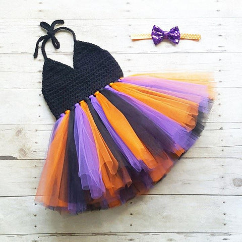 Crochet Halloween Tutu Dress Sequin Sparkle Bow Headband Set Newborn Baby Infant Toddler Child Handmade Photography Photo Prop Baby Shower Gift - Red Lollipop Boutique