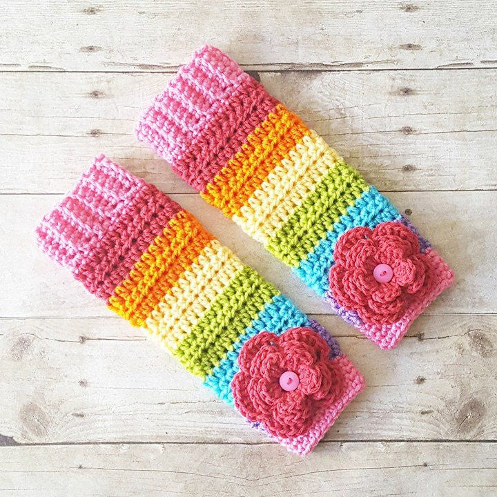 Crochet Leg Warmers Rainbow Flower Newborn Baby Infant Toddler Child Adult Handmade Photography Prop Baby Shower Gift - Red Lollipop Boutique