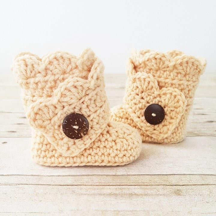 Crochet Baby Boots Scalloped Ruffled Booties Shoes Slippers Handmade Footwear Fall Winter Accessory - Red Lollipop Boutique