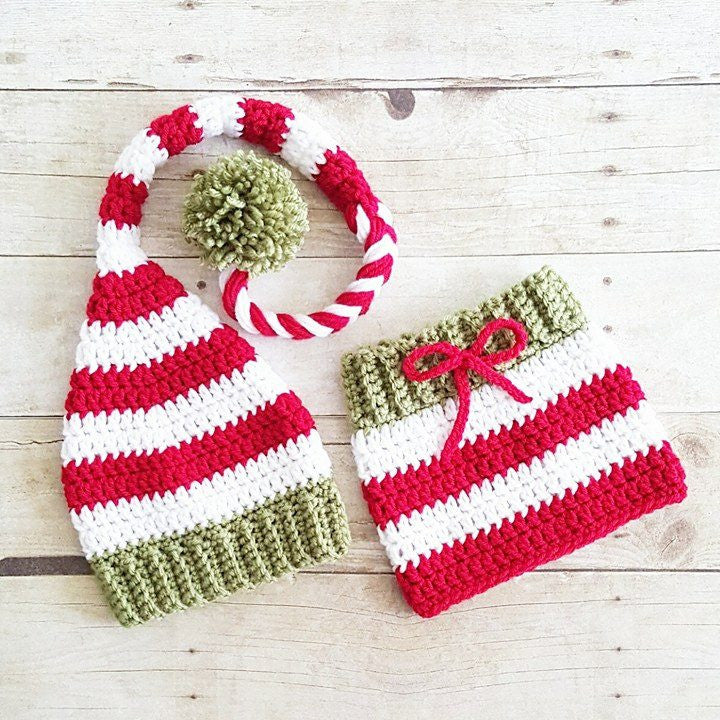 Crochet Baby Striped Christmas Hat Beanie Stocking Cap Skirt Set Red Green White Handmade Photography Photo Prop Baby Shower Gift - Red Lollipop Boutique