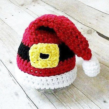 Crochet Santa Buckle Hat Beanie Cap Infant Newborn Baby Toddler Child Adult Handmade Baby Shower Gift Photography Photo Prop - Red Lollipop Boutique