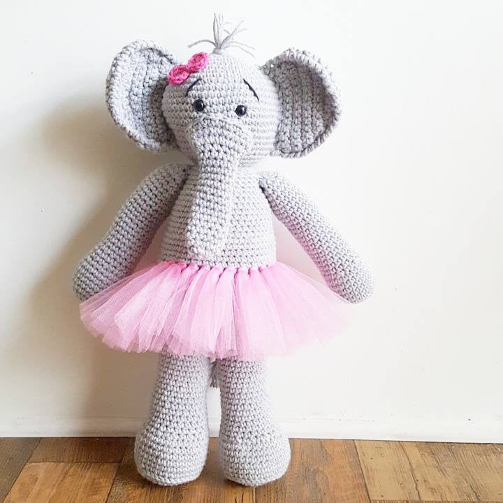 Crochet Elephant Stuffed Animal Toy Ballerina Tutu Bow Tie Girl Boy Handmade Photography Photo Prop Baby Shower Gift Nursery Decor - Red Lollipop Boutique