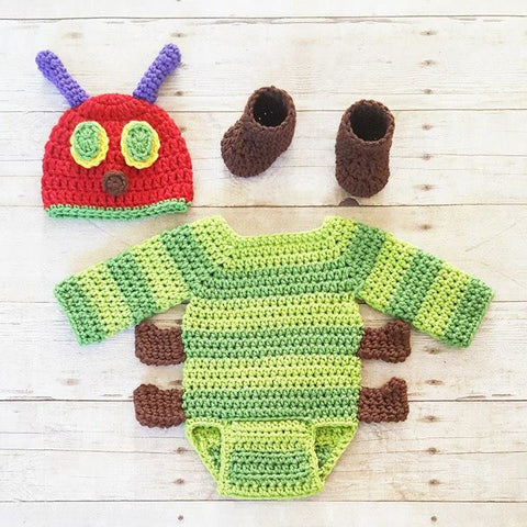 Crochet Baby Hungry Caterpillar Set Hat Beanie Onesie Bodysuit Shoes Boots Handmade Photography Photo Prop Baby Shower Gift - Red Lollipop Boutique