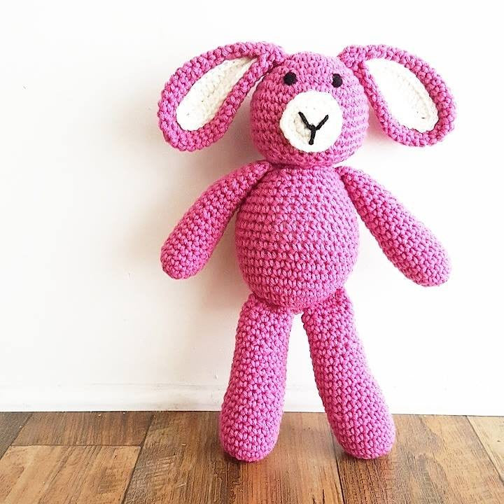 Crochet Bunny Rabbit Stuffed Animal Toy Newborn Baby Infant Toddler Nursery Decor Handmade Baby Shower Gift - Red Lollipop Boutique