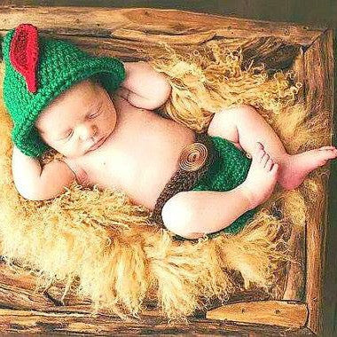 Crochet Baby Peter Pan Robin Hood Hat and Diaper Cover Set Newborn Infant Handmade Baby Shower Gift Photography Photo Prop - Red Lollipop Boutique
