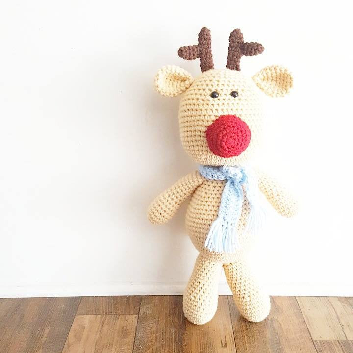 Crochet Reindeer Doll Toy Christmas Home Decor Decoration Handmade Baby Toddler Toy Photography Photo Prop - Red Lollipop Boutique