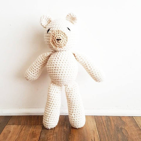 Crochet Bear Stuffed Animal Toy Teddy Bear Newborn Baby Infant Toddler Nursery Decor Handmade Baby Shower Gift - Red Lollipop Boutique