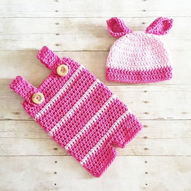 Crochet Baby Piglet Pig Winnie The Pooh Hat Beanie Romper Onesie Diaper Cover Set Handmade Photography Photo Prop Baby Shower Gift Present