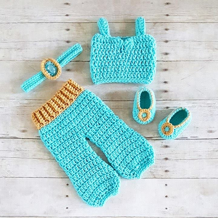 Crochet Baby Princess Jasmine Pants Top Shirt Headband Shoes Set Newborn Infant  Baby Handmade Costume Dress Up Photography Photo Prop Baby Shower Gift ... 3c347ad1632
