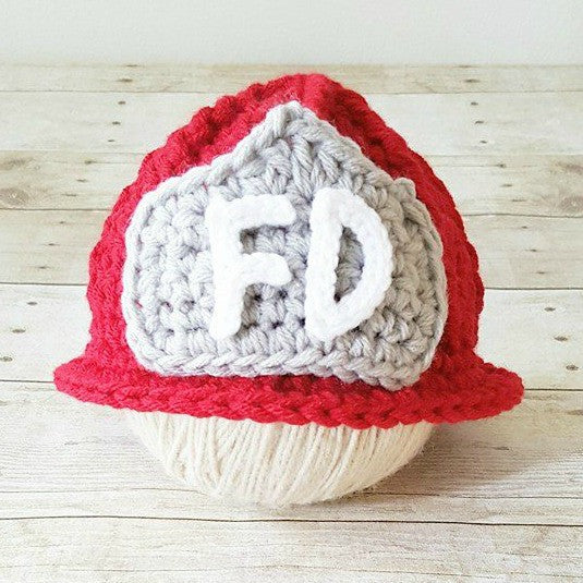 Crochet Baby Fireman Firefighter Hat Helmet Beanie Infant Baby Toddler Child Newborn Photography Photo Prop Shower Gift Present Handmade - Red Lollipop Boutique
