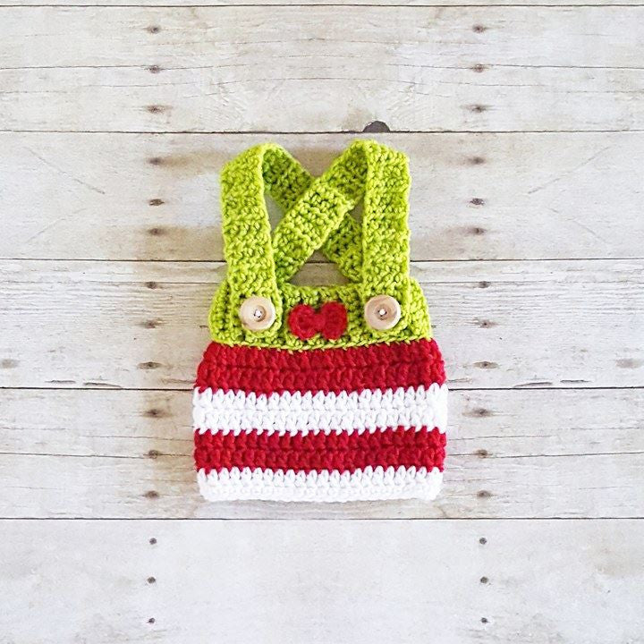 Crochet Baby Christmas Striped Bow Skirt Overalls Holiday Hat Newborn Baby Infant Handmade Photography Photo Prop Baby Shower Gift Present - Red Lollipop Boutique