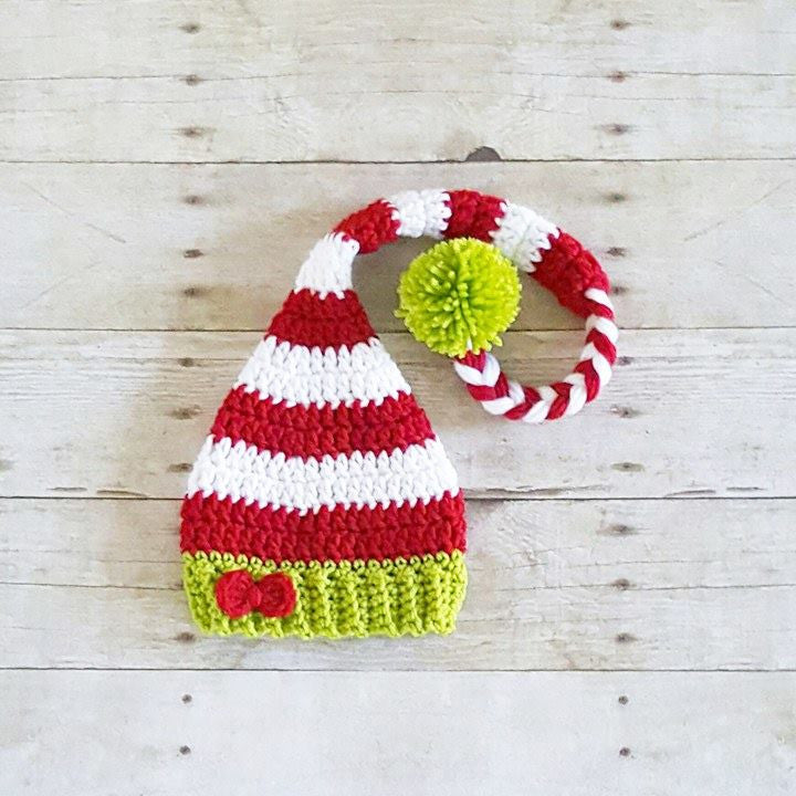 Crochet Baby Christmas Striped Bow Elf Hat Beanie Holiday Hat Newborn Baby Infant Toddler Child Adult Handmade Photography Photo Prop Baby Shower Gift Present - Red Lollipop Boutique