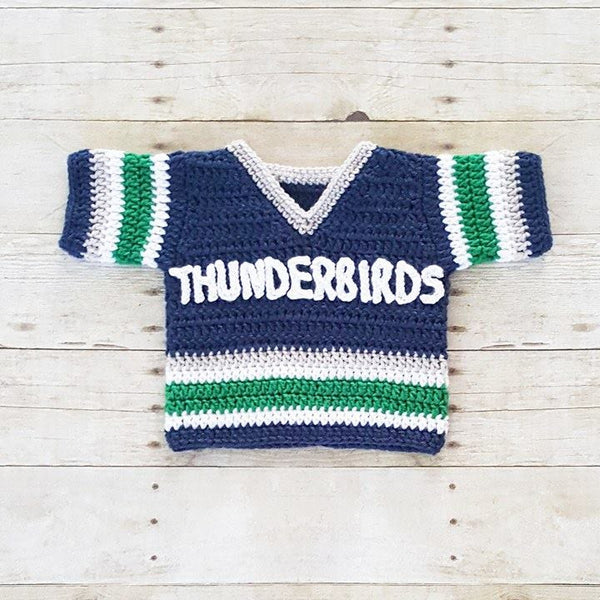 Crochet Baby Football Hockey Jersey Uniform Shirt Costume Newborn Infant Handmade Photography Photo Prop Baby Shower Gift