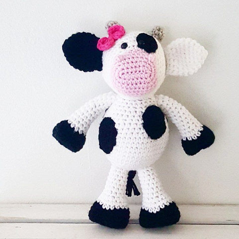 Crochet Cow Stuffed Animal Toy Newborn Baby Infant Toddler Nursery Decor Handmade Baby Shower Gift