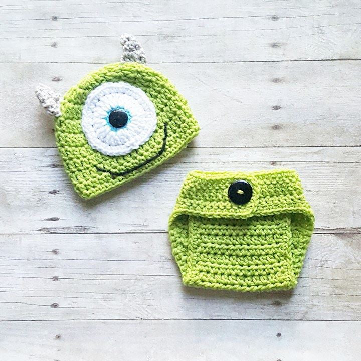 Crochet Baby Monsters Inc Mike Sulley Option Hat Beanie Diaper Cover Set Newborn Baby Infant Handmade Photography Photo Prop Baby Shower Gift Present