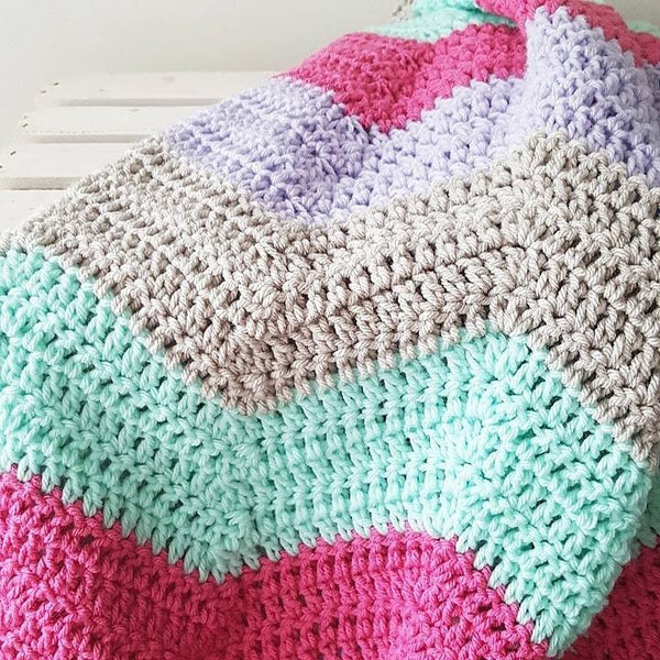 Crochet Chevron Blanket Afghan Baby Toddler Crib Bedding Nursery Decor Twin Full Queen King Handmade Baby Shower Gift - Red Lollipop Boutique