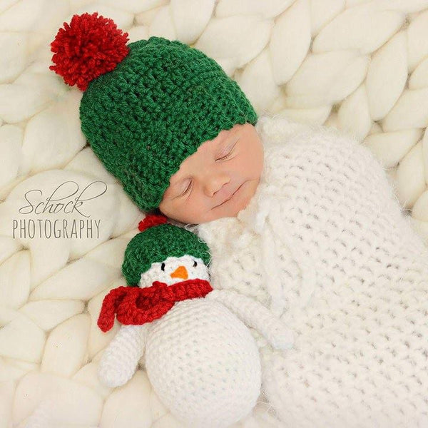 Crochet Snowman Beanie Hat Set Christmas Stuffie Toy Newborn Infant Baby Toddler Handmade Baby Shower Gift Present