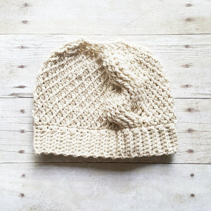 Crochet Messy Bun Beanie Hat Cable Stitch Toddler Child Adult Accessory Handmade