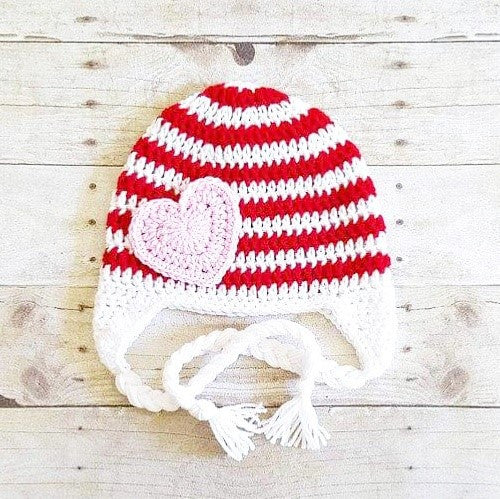 Crochet Valentine's Day Striped Heart Beanie Hat Infant Newborn Baby Toddler Child Adult Handmade Photography Photo Prop Baby Shower Gift Present