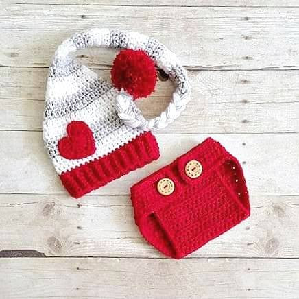Crochet Baby Valentine's Day Hat Beanie Stocking Cap Diaper Cover Set Striped Heart Infant Newborn Baby Toddler Child Adult Handmade Photography Photo Prop Baby Shower Gift Present - Red Lollipop Boutique