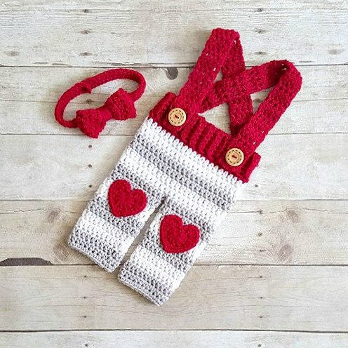 Crochet Baby Valentine's Day Striped Overalls Heart Pants Bow Tie Set Infant Newborn Baby Photography Photo Prop Handmade Baby Shower Gift Present