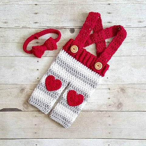 Crochet Baby Valentine's Day Striped Overalls Heart Pants Bow Tie Set Infant Newborn Baby Photography Photo Prop Handmade Baby Shower Gift Present - Red Lollipop Boutique