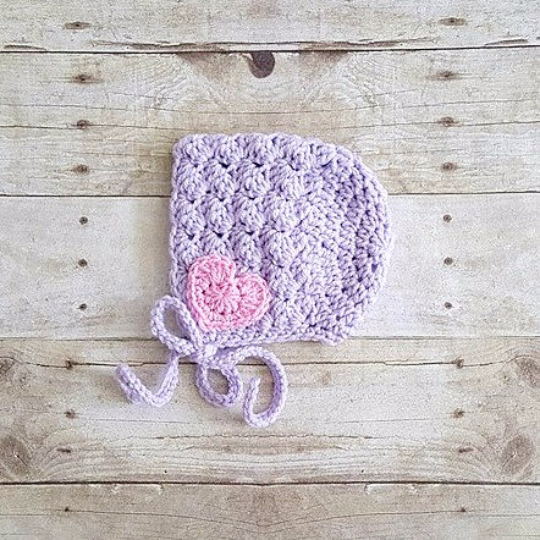 Crochet Heart Bonnet Infant Newborn Baby Toddler Child Handmade Photography Photo Prop Baby Shower Gift Present Valentine's Day