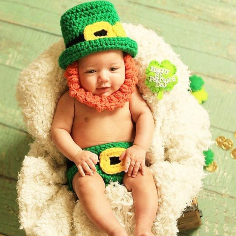Crochet Baby St. Patrick's Day Leprechaun Hat Beanie Beard Diaper Cover Set Infant Newborn Baby Toddler Photography Photo Prop Handmade Baby Shower Gift Present - Red Lollipop Boutique