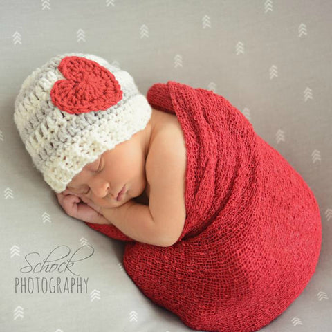Crochet Striped Heart Beanie Hat Infant Newborn Baby Child Adult Handmade Photography Photo Prop Baby Shower Gift Present Valentine's Day