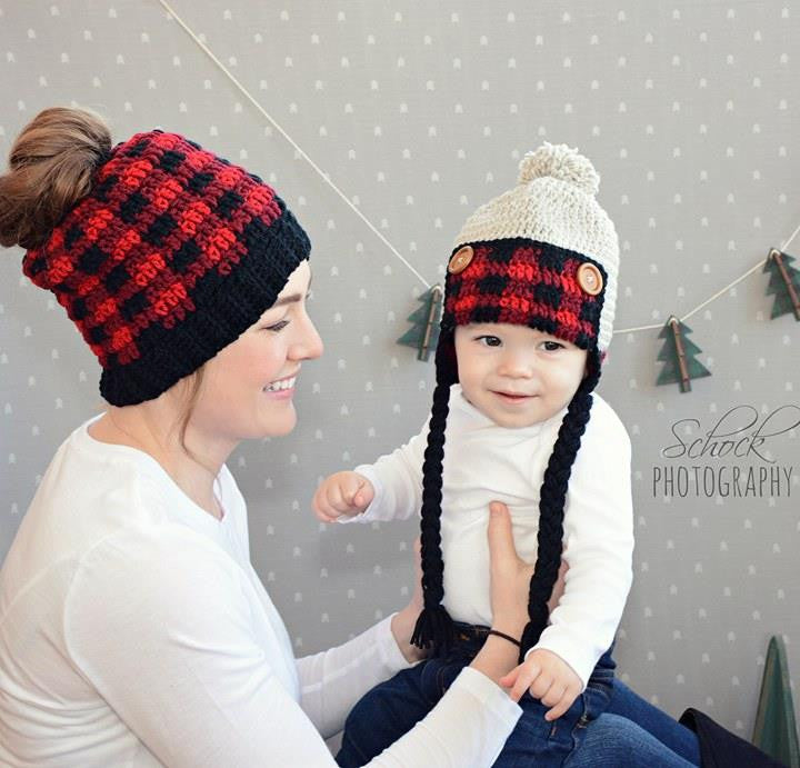 Crochet Plaid Messy Bun Beanie Hat Toddler Child Woman Handmade