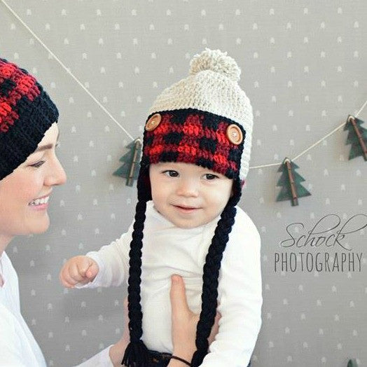 Crochet Lumberjack Plaid Beanie Hat Newborn Infant Baby Toddler Child Adult Handmade Baby Shower Gift - Red Lollipop Boutique