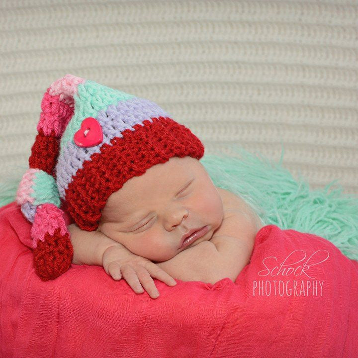 Crochet Baby Valentine's Day Striped Knot Beanie Hat Infant Newborn Baby Toddler Handmade Photography Photo Prop Baby Shower Gift Present