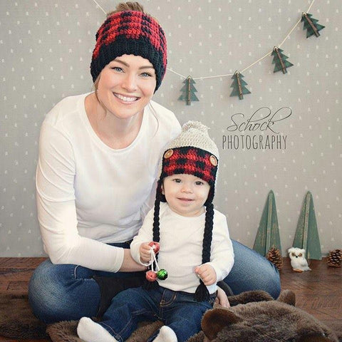Crochet Plaid Beanie Hat Messy Bun Infant Newborn Baby Toddler Child Adult Handmade Christmas Photography Photo Prop Baby Shower Gift Present