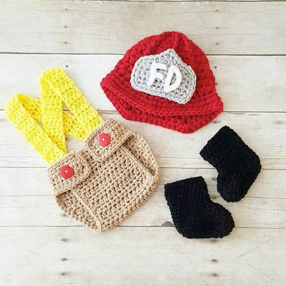 Crochet Baby Fireman Firefighter Set Hat Helmet Beanie Diaper Cover Overalls Boots Shoes Infant Newborn Photography Photo Prop Shower Gift