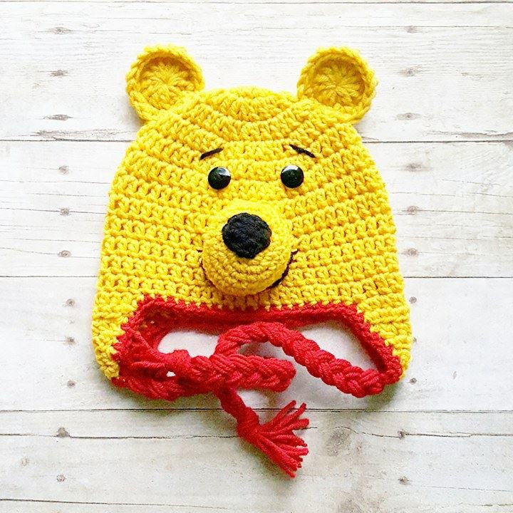 Crochet Pooh Bear Hat Beanie Winnie The Pooh Newborn Baby Infant Toddler Child Adult Handmade Photography Photo Prop Baby Shower Gift Present