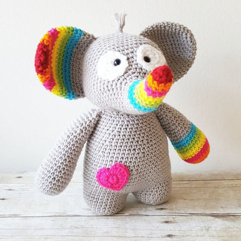 Crochet Elephant Stuffed Animal Toy Newborn Baby Infant Toddler Nursery Decor Handmade Baby Shower Gift