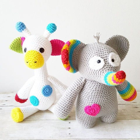 Crochet Giraffe or Elephant Stuffed Animal Toy Newborn Baby Infant Toddler Nursery Decor Handmade Baby Shower Gift