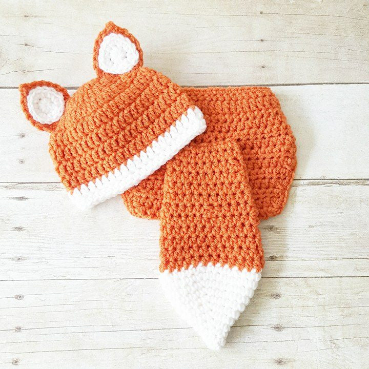 Crochet Fox Beanie Hat Diaper Cover Set Infant Newborn Baby Handmade Photography Photo Prop Baby Shower Gift Present - Red Lollipop Boutique
